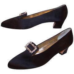 1980's Salvatore Ferragamo Edwardian Style Black Satin Evening Shoes