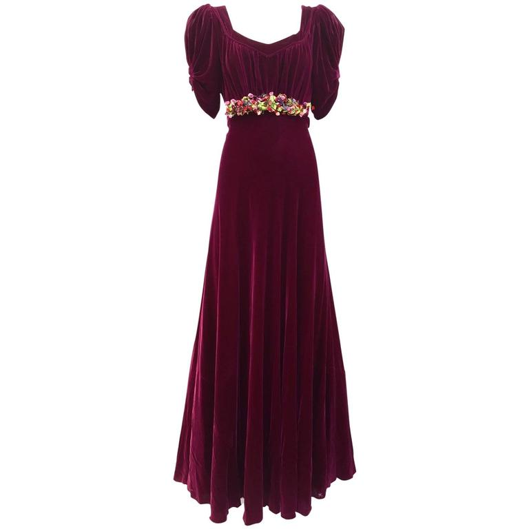 1930s Maroon silk velvet gown with floral applique 1