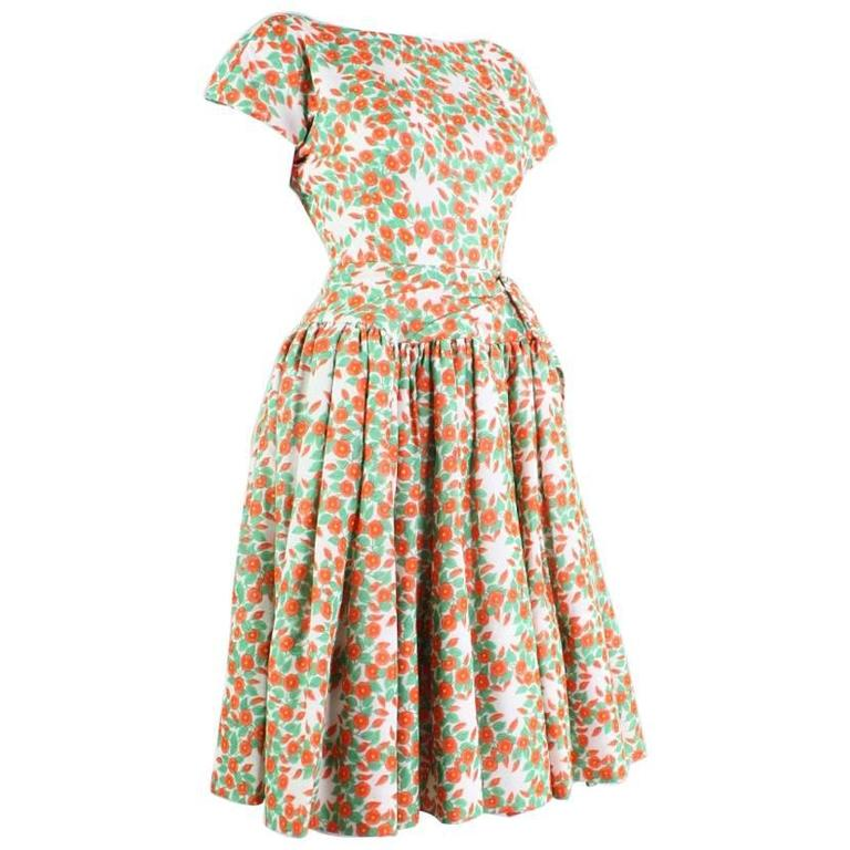 1950's Floral Printed Day Dress 1