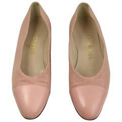 Chanel Pink Tweed Leather Cap Ballerina Flats