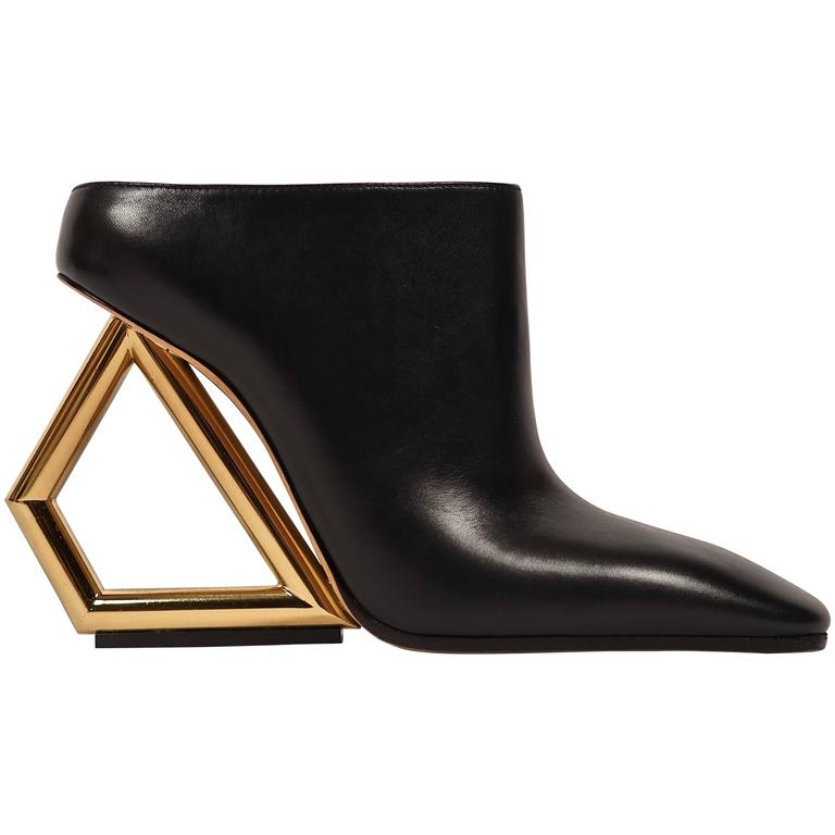 CELINE black leather mules with gold trapezoid heels - runway 2014 1