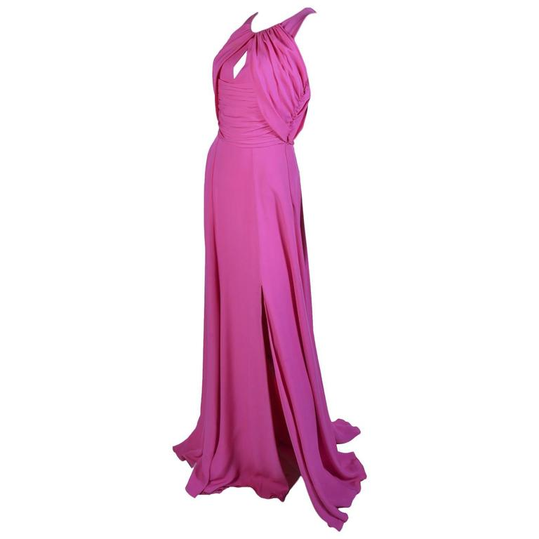 VERSACE Pink Matte Chiffon Gown