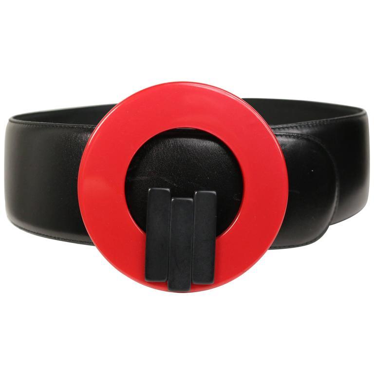 Charles Jourdan Red Buckle Black Leather Belt For Sale