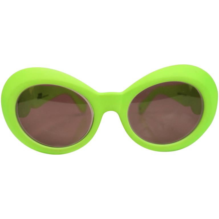 Gianni Versace Neon Green Cello Frame Sunglasses  1