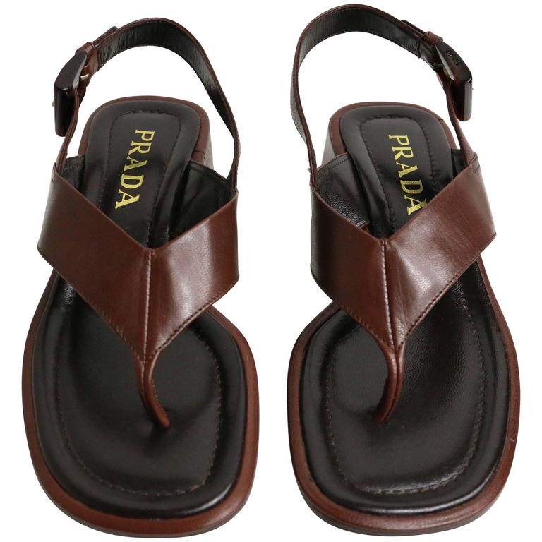 Prada Brown Leather Slingback Sandals For Sale
