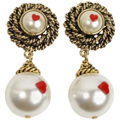 Moschino Pearls With Hearts Gold Tone Drop Clip-On Earrings