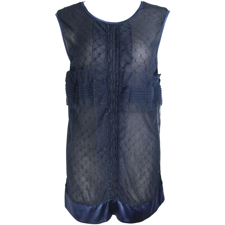 Chanel Navy Blue Lace And Silk Sleeveless Blouse Top