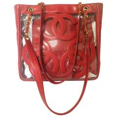 Vintage CHANEL clear vinyl and red leather combination shoulder purse, tote bag