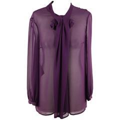 PRADA Purple Silk LONG SLEEVE BLOUSE Shirt TOP Size 42