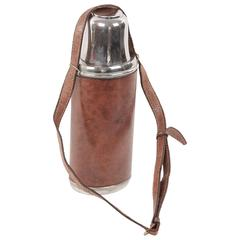 GUCCI VINTAGE Brown Leather THERMOS Vacuum Flask w/ Shoulder Strap