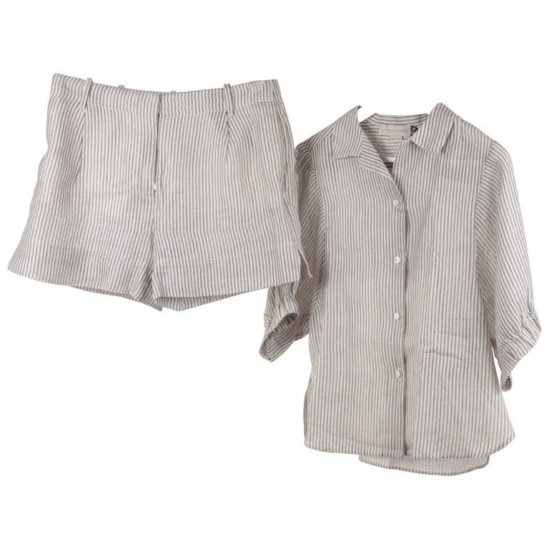STELLA McCARTNEY Striped Cotton & Silk SHIRT & SHORT Pants SET Size 38