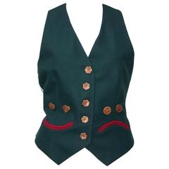 1990's Cheap and Chic Moschino Gingerbread Face Vest With Wood Buttons