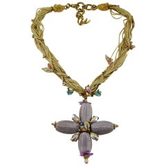 Christian Lacroix Vintage Jewelled Cross Pendant Necklace