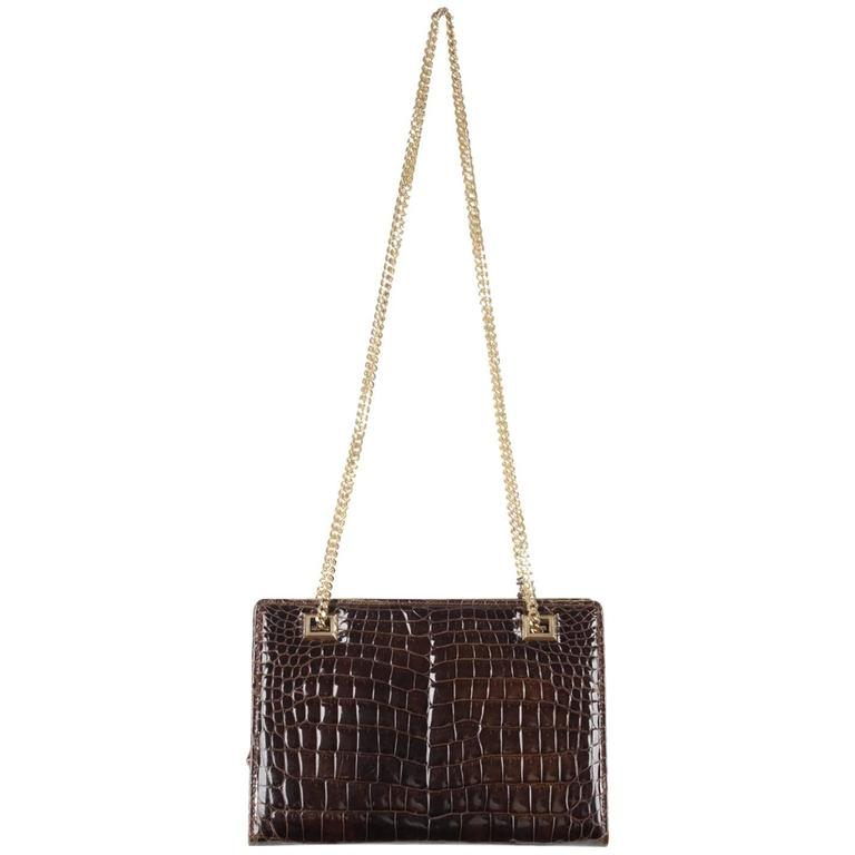 Gucci Vintage Brown Crocodile Leather Shoulder Bag W Chain Straps For