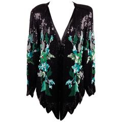 PANCANI Vintage Black Floral SEQUINNED BLOUSE Top JACKET