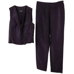 GIORGIO ARMANI Blue Linen & Silk PANT SET Sleeveless Vest & Trousers SIZE 44