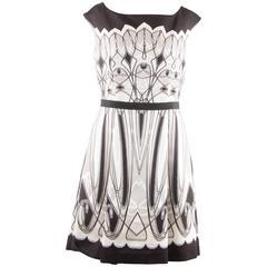 BLUMARINE Black White Beige ART DECO Print FIT & FLARE DRESS