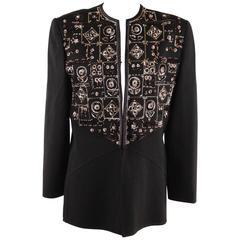 ANDRE LAUG Vintage Black Embellished EVENING JACKET Beads & Sequins