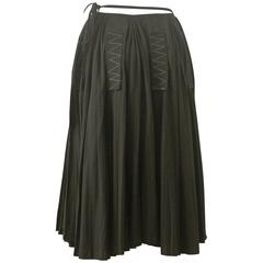 Yohji Yamamoto wrap skirt with vertical zig-zag stitched patches