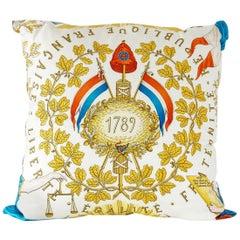 Hermes Print Liberte Egalite Fraternite 1789 Republique Francaise Scarf Pillow