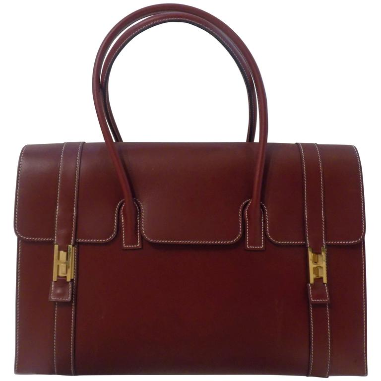 Hermes Bordeaux Leather Bag For Sale