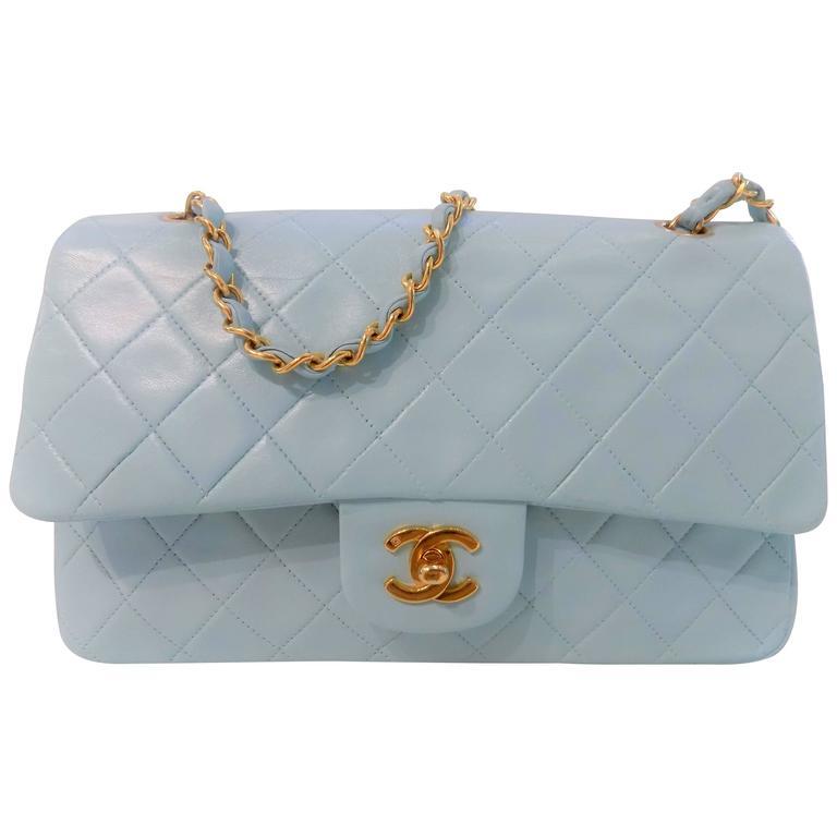 317c80008ebd Chanel Light Blue 2 55 Leather Bag At 1stdibs