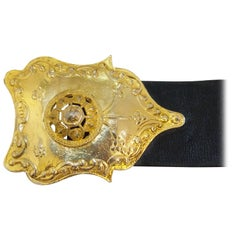 70s Alexis Kirk Black Leather Belt with Exotic Gold Buckle