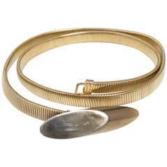 70s Gold Oval Stretch Disco Belt