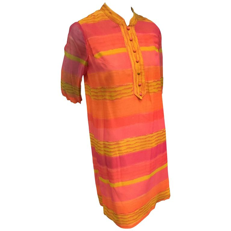1960s Vibrant Stripe Silk Chiffon Tunic Dress in Orange, Gold and Fuchsia
