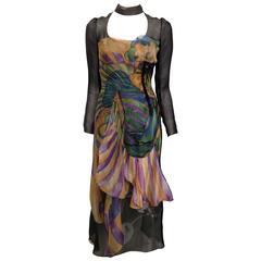 Prada Forest Green Multicolored Organza Fairy Dress Size 40 (4)