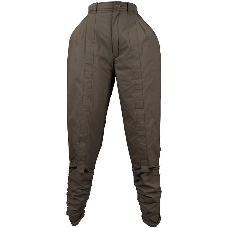 Issey Miyake olive green ruched sports pants, circa 1983 For Sale