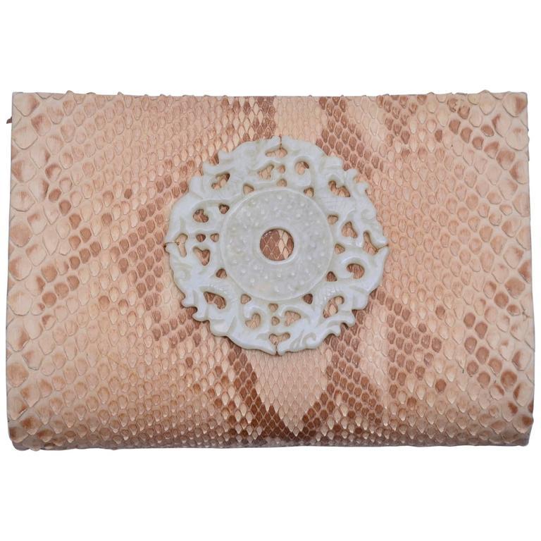 Paige Gamble Beige Snake Skin  Clutch Evening Handbag 1