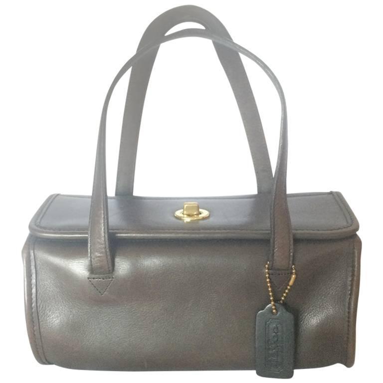 80's Vintage COACH dark brown leather shoulder bag ...
