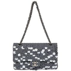 Chanel Blue White Stripe Sequin Flap Bag