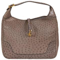 Special Order 1988 Hermès Oversized Trim Etoupe Ostrich Bag