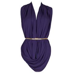 1980's OMO Norma Kamali Purple Cowl Top