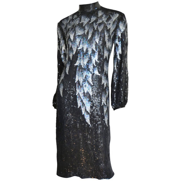 1970s Halston Sequin Silk Dress For Sale