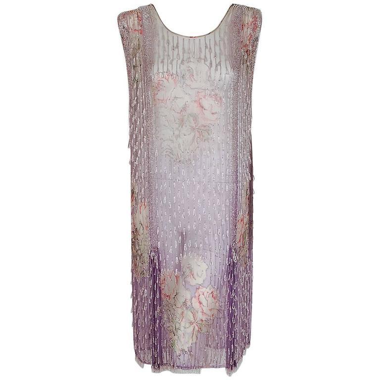 1920's Watercolor Roses Floral Garden Beaded Purple Silk-Chiffon Flapper Dress 1
