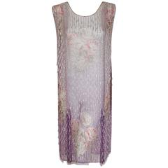 1920's Watercolor Roses Floral Garden Beaded Purple Silk-Chiffon Flapper Dress