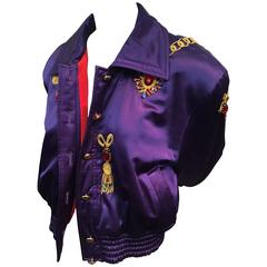 1980s Escada Purple Silk and Wool Satin Bomber Jacket w Jewel Embroidery