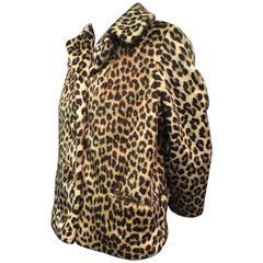1950s Dan Millstein Fabulously Chic Faux Leopard 3/4 Sleeve Jacket