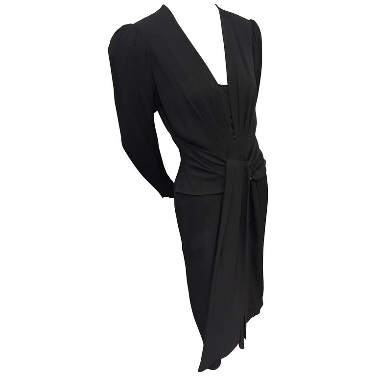 1980s Ted Lapidus Black Crepe Cocktail Dress w/ 1940s-Inspired Style