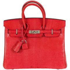 Hermès Rare Birkin 25 Rouge Lizard Never Worn
