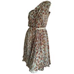 Christian Dior Galliano Chic One Shoulder Leopard Print Silk Dress w Jewel Belt
