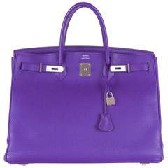 Hermes Birkin Bag Iris 40cm Palladium Hardware Togo super rare! JaneFinds