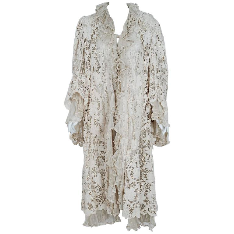 1906 Edwardian Ivory Battenburg Lace & Pleated Silk Angel-Sleeve Jacket Coat