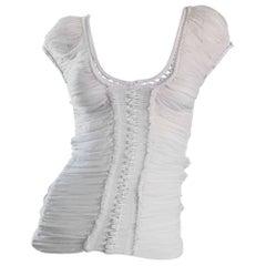 Roberto Cavalli 1990s White Silk Chiffon + Crochet Beautiful Vintage Angelic Top