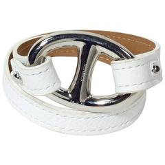 Hermes White Leather Bracelet with Silver Hardware
