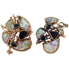 Art to wear copper filigree abalone & onxy pierced earrings