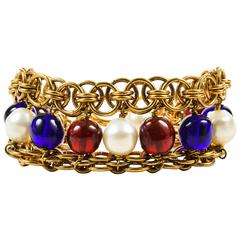 Vintage Chanel Gold Tone Blue Red Faux Pearl Beaded Layered Chain Link Bracelet